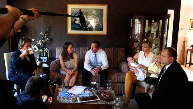 Opposition Leader Tony Abbott visited Rosie Hopgood (left) at her Beaconsfield home in Melbourne's south east where he ...