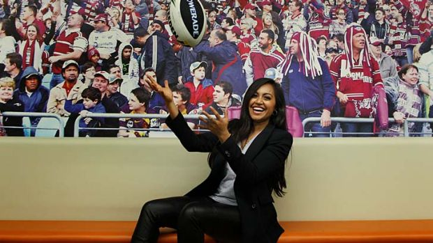 Glamour and grit: Jessica Mauboy helps launch the rugby league season last week.