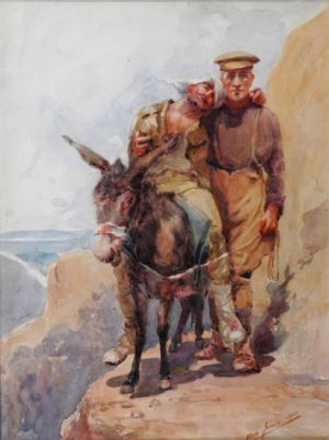 Anzac legend John Simpson Kirkpatrick and his donkey as depicted in the painting by Horace Moore-Jones.