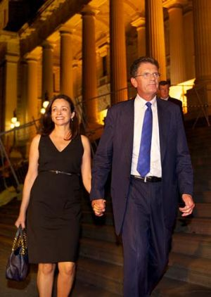 Mr Baillieu and his wife Robyn leave Parliament.