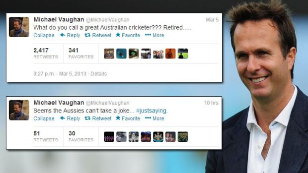 Former England captain Michael Vaughan and (inset) two of his tweets from the past two days.