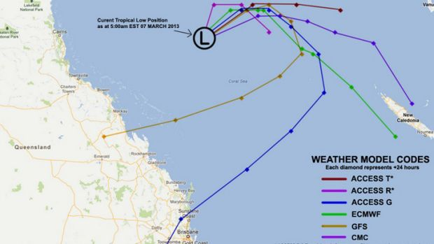 A tropical cyclone forecast track variation map of Cyclone Sandra possible paths.