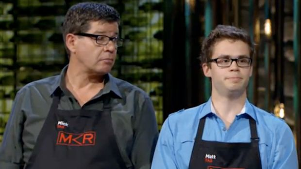 Mick and Matt wait for the verdict on their breakfast dish.