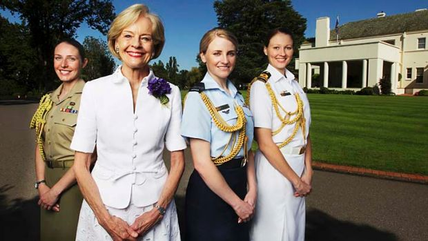 Governor-General Quentin Bryce with her aides-de camp (from left) Courtney Ames, Casey Byron and Michelle Freeman.