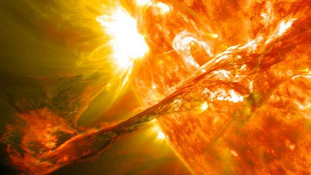 An image captured by NASA's Solar Dynamics Observatory of a blast of plasma streaming from the sun in 2012.