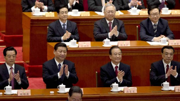 China's leaders: Hu Jintao (front row, left) with his successor as president, Xi Jinping (second left).