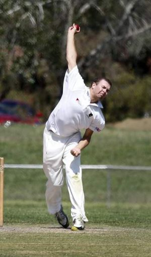 Wests/ UC bowler Ethan Bartlett in action during the match at Jamison Oval.