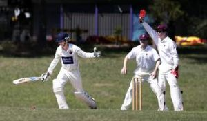 Eastlake batsman Matt Winter looks at the ball as Wests/ UC wicket keeper Beau McClintock appeals during the match at ...