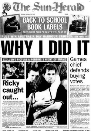 Damning: This newspaper's report of Ponting's spree.