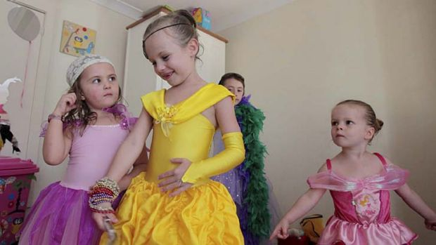 Princess party: (From left) Charlotte Dunsford, Maddi Calvert, Sophie Dunsford and Tallulah Calvert play dress-ups in ...