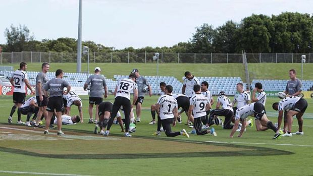 Mired in scandal: The Sharks at training on Saturday.