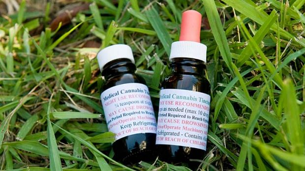 Bottles of  medical cannabis tincture.