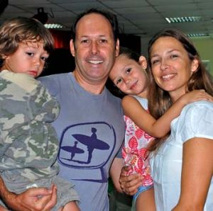 Happy days: Matt Joyce and Angela Higgins with two of their three children, Jack and Clancy.
