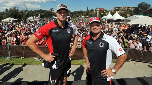 Captain and coach: Nick Riewoldt and Scott Watters at St Kilda's family day.