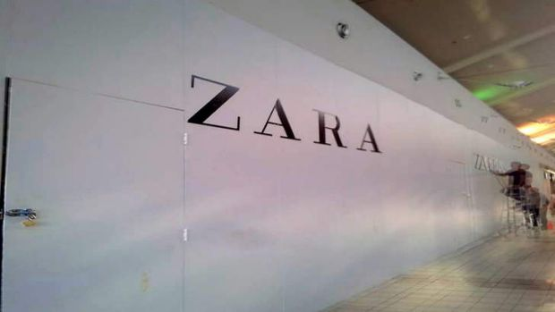 The Zara shopfront has been boarded up for months, keeping shoppers guessing about what it may look like inside.