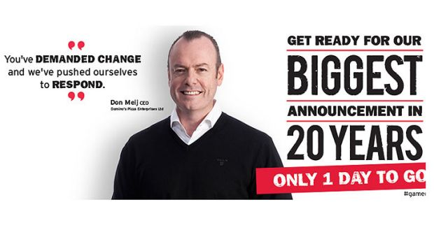 'Biggest announcement in 20 years' ... one of Domino's Pizza's Facebook banners.