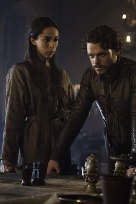Richard Madden and Oona Chaplin as Rob Stark and Jayne.