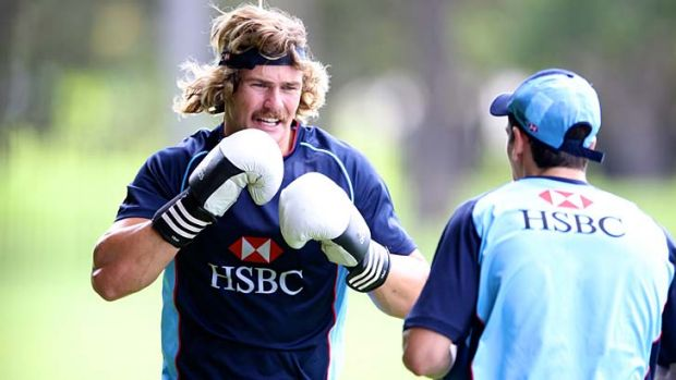 Different shade of blue: Former Waratah Berrick Barnes now plays in Wild Knights colours.