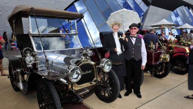 Robert Lovell and wife Meryl with their 1907 De Dion-Bouton at the vintage car show at the National Museum, Canberra.