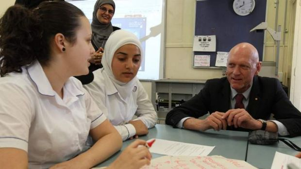 Minister for School Education, Peter Garrett  visits in a year 11 class at Macarthur Girls High School on Monday.