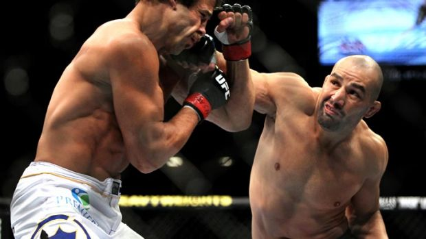 Glover Teixeira (right) lands a right hand to the jaw of Kyle Kingsbury in his UFC debut last year. Teixeira will next ...
