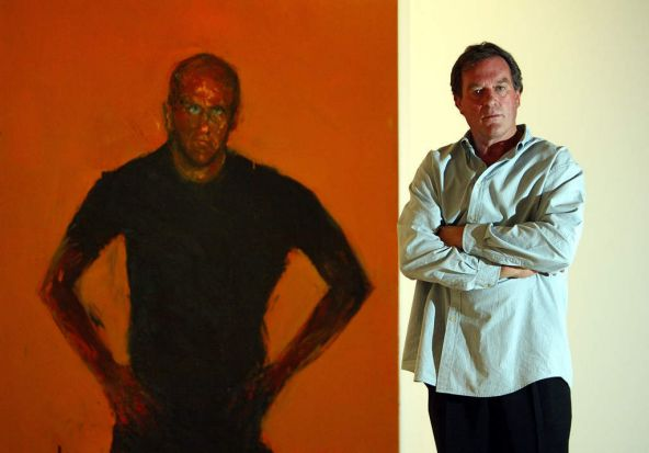 2003 - Archbibald winner,  Artist Geoffrey Dyer with his winning portarit of Richard Flanagan announced at the Art ...