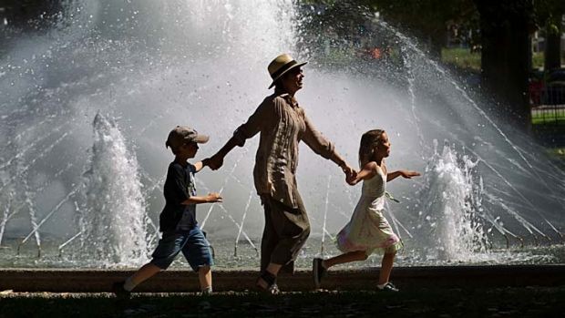 Looking for respite: Meredith Blackburn with son Reeve, 7, and his friend Sarita, 7, are off to see <i>Chitty Chitty ...