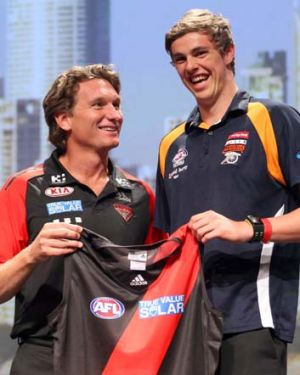 Essendon coach James Hird looks very pleased to have father-son draft pick Joe Daniher on board.
