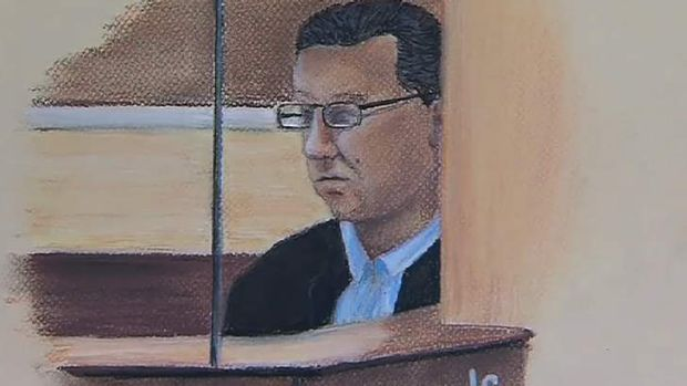 A court sketch of Gerard Baden-Clay, the Brisbane real estate agent charged with the murder of his wife Allison, drawn ...