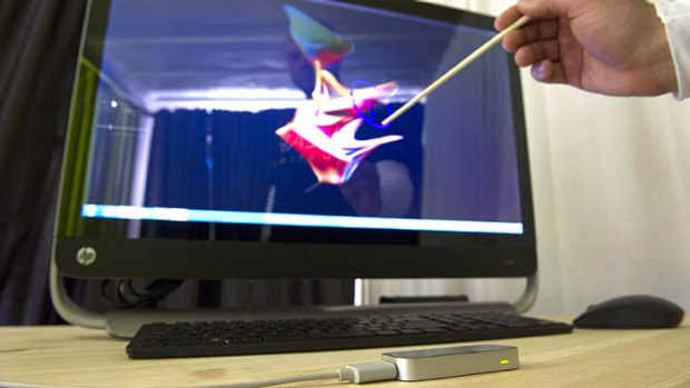 Michael Zagorsek, vice president product marketing for Leap Motion, demonstrates the Leap Motion Controller.