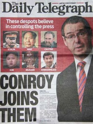 The front page of Sydney's <i>Daily Telegraph</i>.