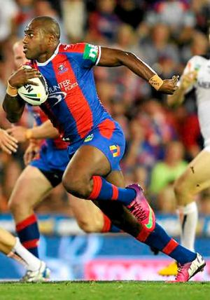 Tryscoring form ... Akuila Uate of the Knights.