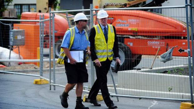 ACT Work Safety Commissioner Mark McCabe, right, and work safety officer Alan Chipperfield.