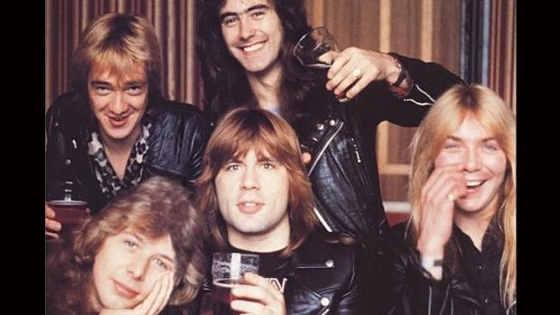 Clive Burr, bottom left, was a drummer with Iron Maiden from 1979-82.