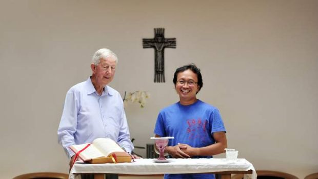 Father Des Purcell and Father Robertus In Nugroho Budisantoso are pleased that the new Pope is of the Jesuit order.