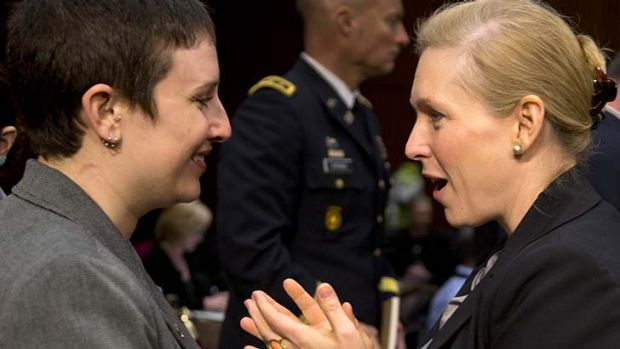 Senator Kirsten Gillibrand (right) speaks to former Army sergeant Rebekah Havrilla at Wednesday's hearings into sexual ...