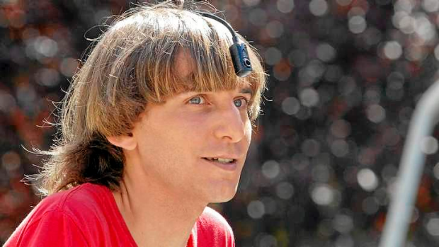 British 'cyborg' Neil Harbisson wearing the 'eyeborg' that allows him to overcome colour-blindness.