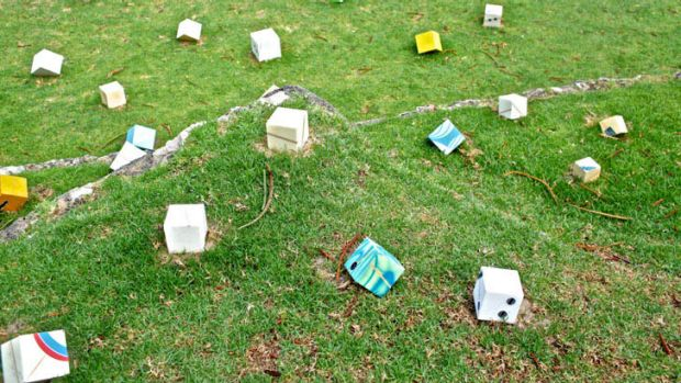 Two small components, of David Brophy's 30-component sculpture titled re-form, were stolen.