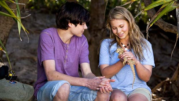 Eco-warrior: Bindi Irwin and co-star Toby Wallace in the kids film <i>Return To Nim's Island</i>. Irwin plays a girl ...