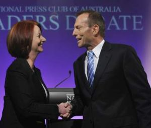 Prime Minister Julia Gillard and Opposition Leader Tony Abbott at a leaders debate during the 2010 federal election.
