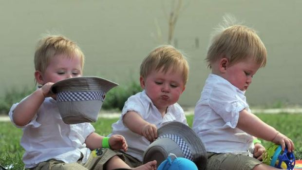 Triplets from Bombala, 11 month old Liam Guthrie, left, with his brothers, Kobi, centre and Nash, right.