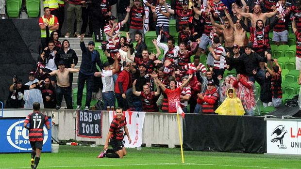 Star power: Wanderers striker Labinot Haliti after scoring against the Heart.