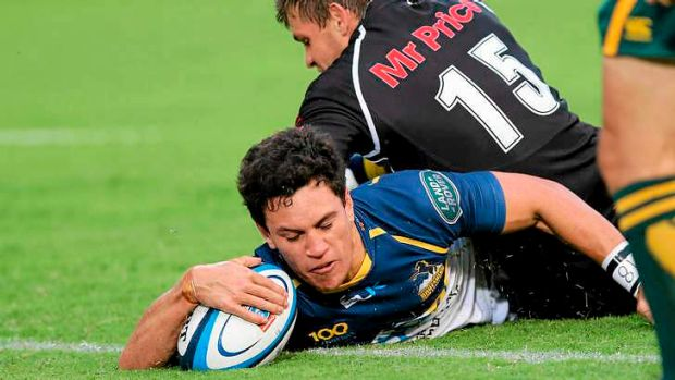 Matt Toomua crosses for one of four tries for the Brumbies in a lopsided first-half.