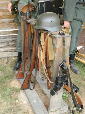 Period equipment and Kar98k rifles, as used by the German military.