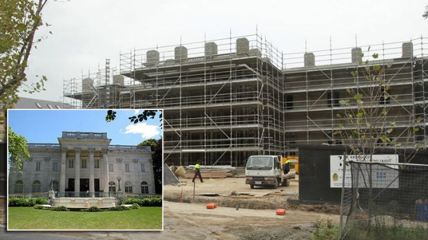 Work in progress ... Harry Stamoulis's Toorak mansion is being modelled on the Vanderbilt's Marble House, inset.