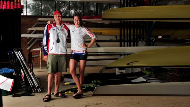 Former Canberran and now a coach with the Great Britain rowing team Paul Thompson with London Olympic gold medallist ...