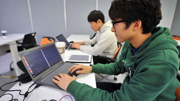 In training: A young computer expert studying at the Korea Information Technology Research Institute in Seoul.