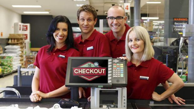 Register assistance: In <i>The Checkout</i>, (from left) Kate Browne, Craig Reucassel, Julian Morrow and Kirsten ...