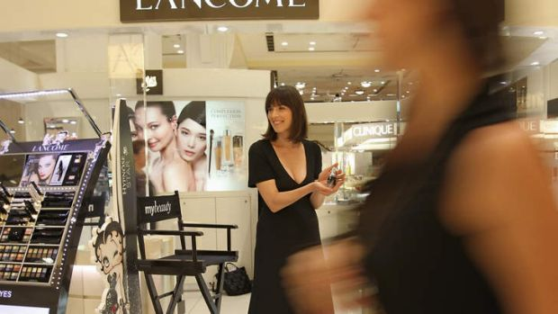 Journalist Samantha Selinger-Morris attempts to push products on the Myer cosmetics floor.