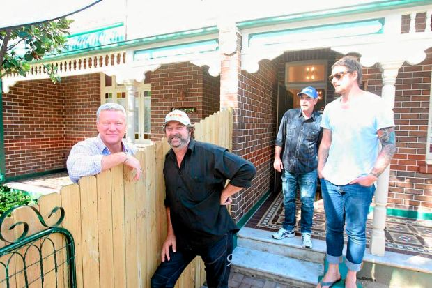 The Block host with All Stars 'fat tradie' Mark Bowyer at the finale auction in Bondi.